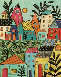 Funky-Village-16-x-20-ORIG-STRETCHED-CANVAS-PAINTING-Folk-Art-Karla-Gerard