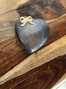 Silver Bow with Gold Bow Small Jewelry Box Vintage Heart Shaped Trinket Box
