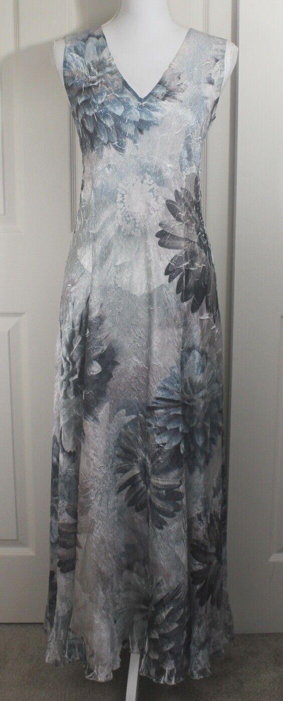 Komarov Blau Floral Lace Long Crinkle Elegant Party Satin Slip Dress Sz Petite M