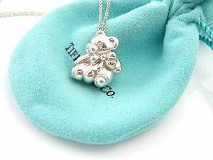 7722a0743 Tiffany & Co RARE Silver Teddy Bear Ribbon Bow Necklace Pendant ...