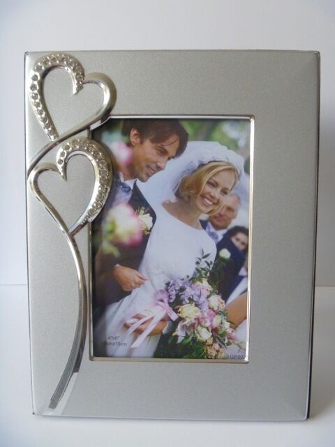 Wedding Engagement Diamante Hearts Photo Frame Silver 8 X 10 cm