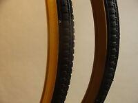 Vintage Tyre 26 X 1 3/8 Block Tread Gum Wall (pair)