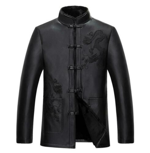 Men/'s Leather Jacket Embroidered Dragon Stand Collar Button Front Tang Coat Slim