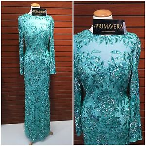 7a78492b02 Image is loading PRIMAVERA-COUTURE-1401-LONG-SLEEVE-SEQUINED-AQUE-FLORAL-