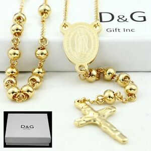 DG-Stainless-Steel-Gold-26-034-Beaded-Rosary-VIRGIN-MARY-JESUS-CROSS-Necklace-BOX