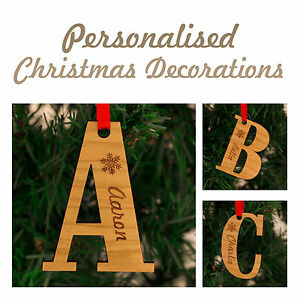 image is loading personalised christmas decorations letters names family keepsake - Christmas Decorations Names