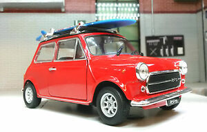 Austin-Rover-Red-Mini-Classic-Cooper-Mr-Bean-Surf-Board-1-24-Scale-Diecast-Model