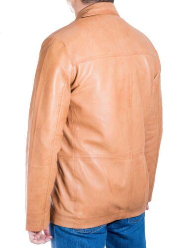 Da Uomo Nuovo Marrone Tan Classico Casual montato su misura 3 Pulsante Blazer Giacca in Pelle