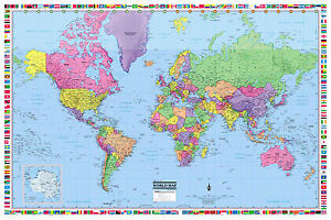 """World Wall Map Poster 36""""x24"""" with Flags Paper, Laminated - 2021"""