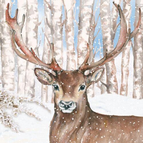deer Christmas winter 4 Single paper decoupage napkins forest design-969