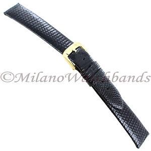 16mm-Speidel-Shiny-Black-Genuine-Lizard-Unstitched-Mens-Watch-Band-Long-753-331