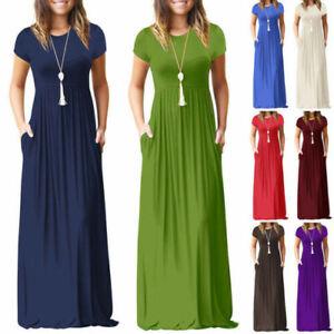 Plus-Size-Womens-Short-Sleeve-Maxi-Long-Loose-Dress-Solid-Party-Shirt-Sundress