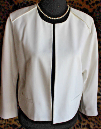 Crop Poly lommer Mix Open Vince året Sz rundt Jacket Camuto Rayon 12 Nye White UgcZxE
