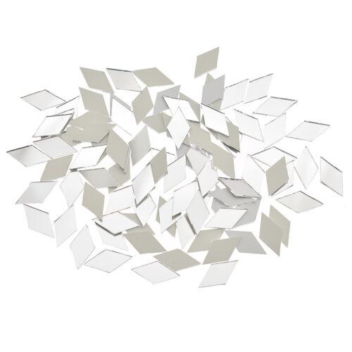 100x Glas Spiegel Mosaik Fliesen Bulk Diamant Shape Decal Zuhause Dekor 2x1.1cm