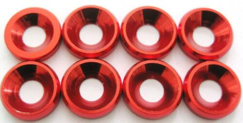 M4 8P Aluminum Washer Countersunk Flat Head Screw Bolt Washer For RC Car Red NEW