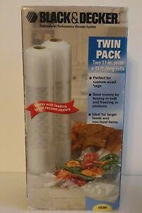 Black & Decker Vacuum Sealing Food Saver VB300 Twin Pack 11in x18ft (2)Rolls NIB