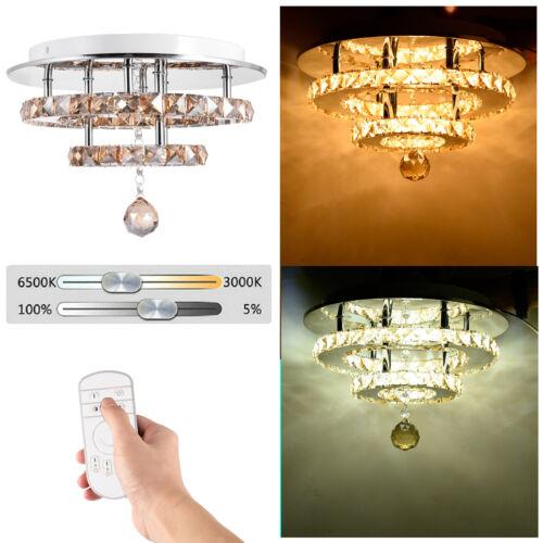 LED Modern Crystal Ceiling Light Bed Room Living Pendant Flush Chandelier Lamps