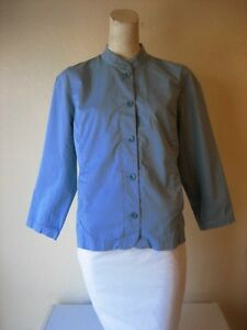 Eileen-Fisher-Blue-100-Cotton-Long-Sleeve-Button-Down-Blazer-Jacket-Size-S