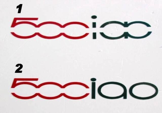 Fiat 500 Ciao Car Sticker 2 colour Red & Green