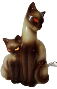Vtg KRON Siamese Cat Kitten TV LAMP Figurine Night Light Glowing Eye Mid-Century