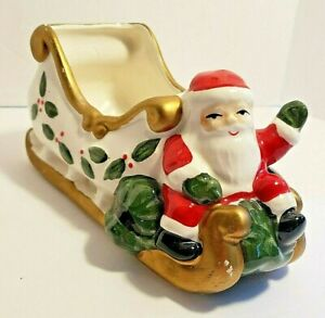 Vitabath Ceramic Santa with Sleigh Hand Painted 7 Inches Long Planter Candy Dish
