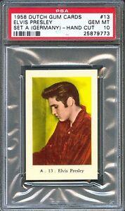 1958-Dutch-Gum-Card-GERMANY-Set-A-13-ELVIS-PRESLEY-Portrait-PSA-10-GEM-MINT