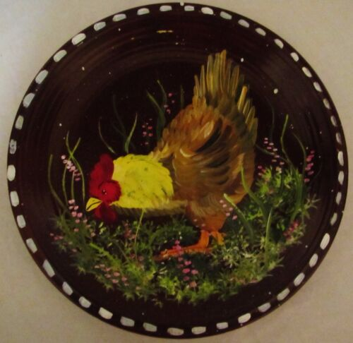 "10"" Vintage Handpainted Primitive Folk Art Rooster Chicken NuStone Plate Japan"