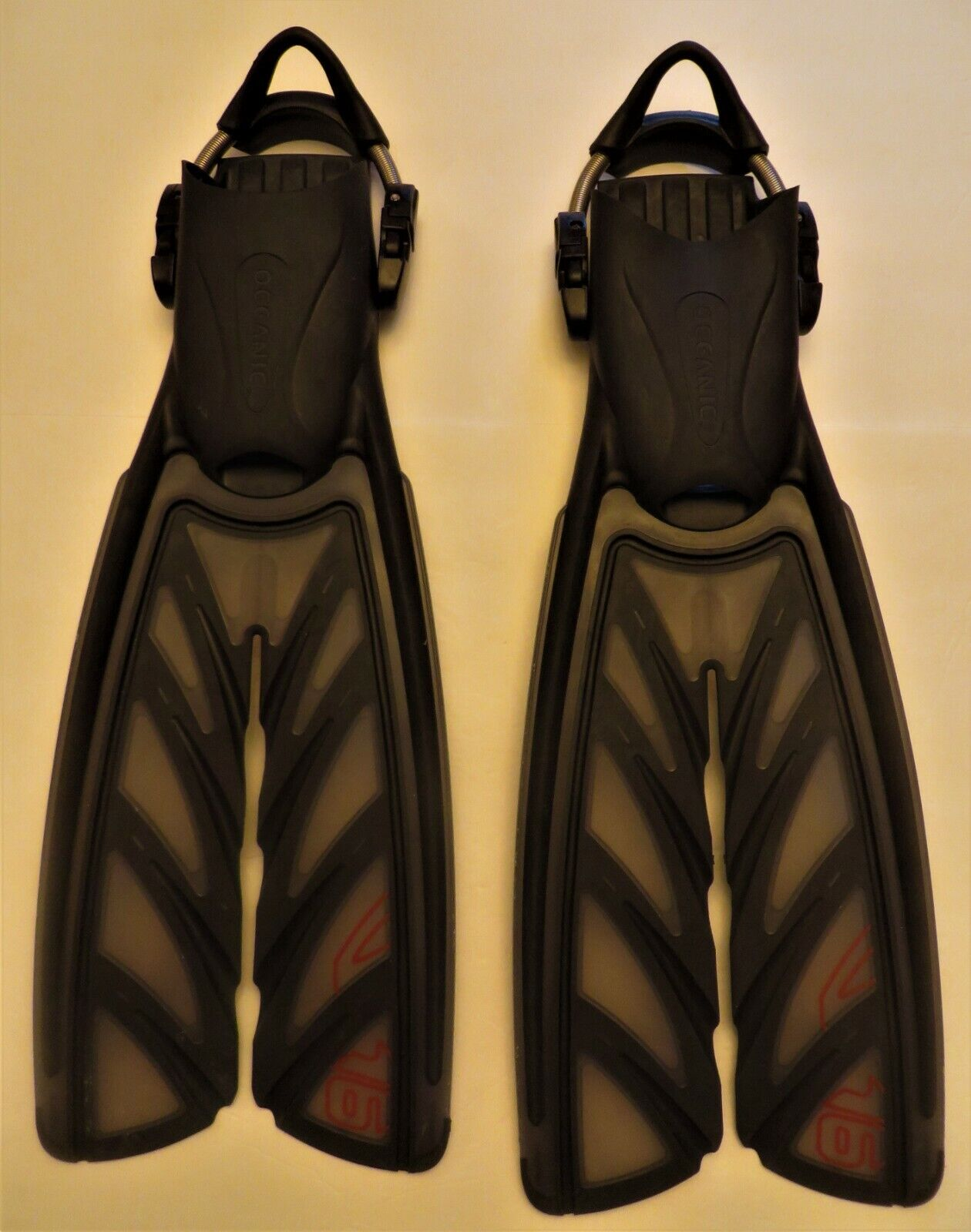 Oceanic Vortex V6 Split FINS Scuba Snorkeling Flippers Blue Sz 9-10 L w bag