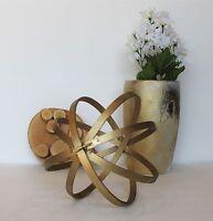 Decorative Orbs Wood Metal Ball Rustic Home Decor Spheres Accent Balls 3 Set