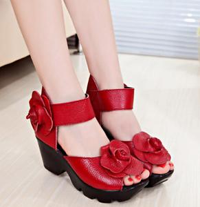 Womens Retro Floral Cow Leather Open Toe Platform Wedge Heel Pumps Sandal Shoes