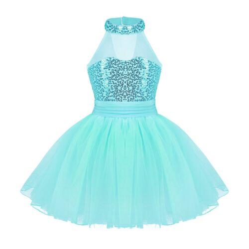 UK Girls Kids Ballet Dance Dress Gymnastics Leotard Sequins Dancewear Costume