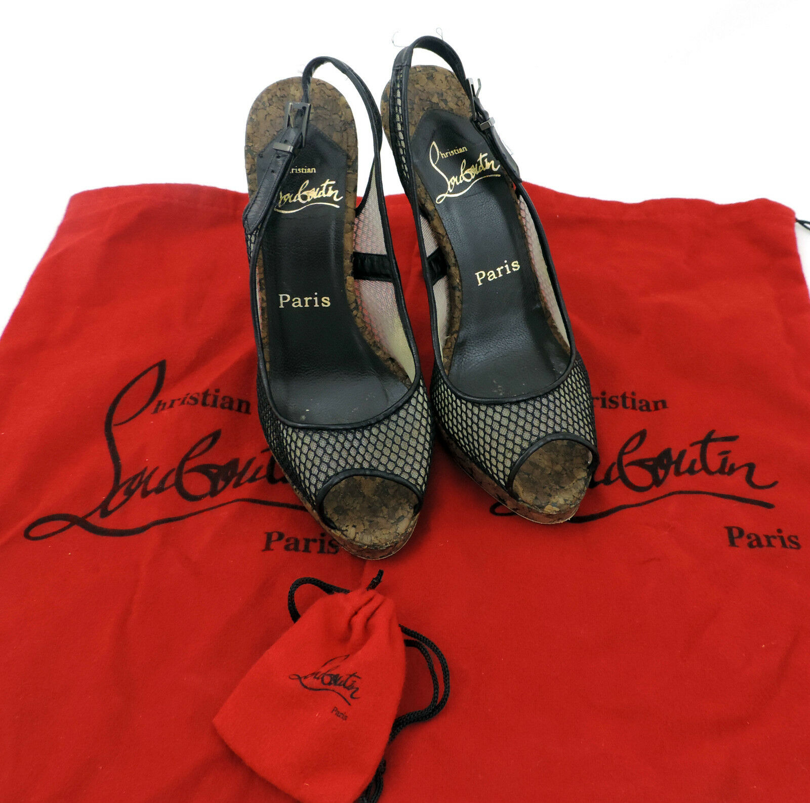 Louboutin Pumps 36,5  schwarz Kork Sandale high heels