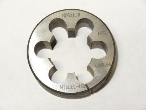 "HSS Round Adjustable Split Metric Die 600694 new WIDELL-USA M26-1.0/"" x 2/"" O.D"
