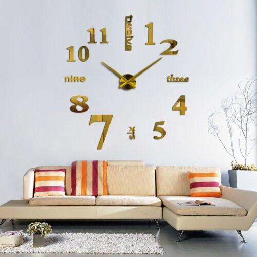 3D Groß Wanduhr DIY Spiegel Büro Dekoration Modern Slick Elegant Neu Design
