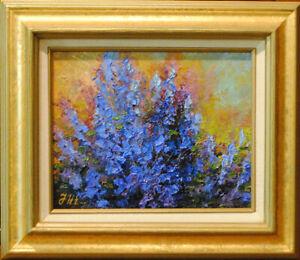 Sage-Original-framed-oil-on-canvas-8-034-x10-034-floral-impressionistic-painting