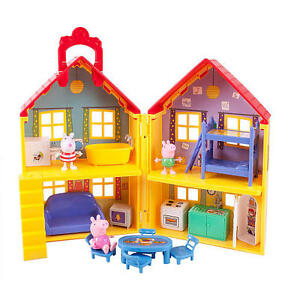 Peppa-Pig-George-Suzy-Deluxe-Toy-Doll-House-Travel-Playset-Kitchen-Bedroom-15pc
