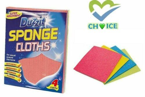 Floor Kitchen Window Wipes Pack of 4 Super Absorbent Sponge Cloths by Duzzit