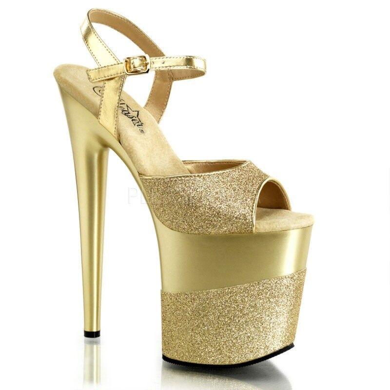 PLEASER FLAMINGO-809-2G Plateau Sandaletten Gold Glitter Extrem Tabledance Gogo