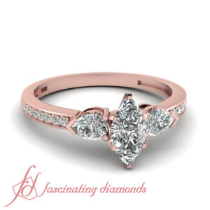 Pear And Marquise Diamond Accented 1 Ct Unique Engagement Ring In Rose Gold Gia Ebay