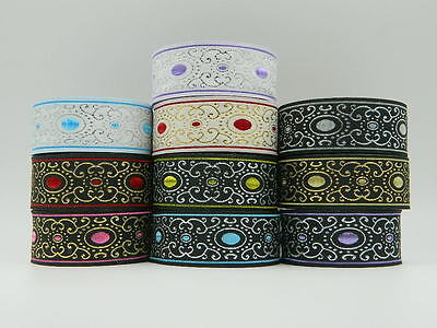 1m Jacquard Ribbon//Trim Ellipse 33mm Various colours available