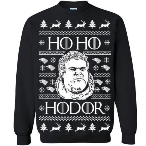 661 Ho Ho Hodor Crew Sweatshirt ugly funny christmas thrones sweater stark party