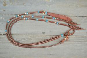 1-2-034-Jose-Ortiz-Flat-Harness-Romel-Reins-4-Braided-Turquoise-Rawhide-Knots