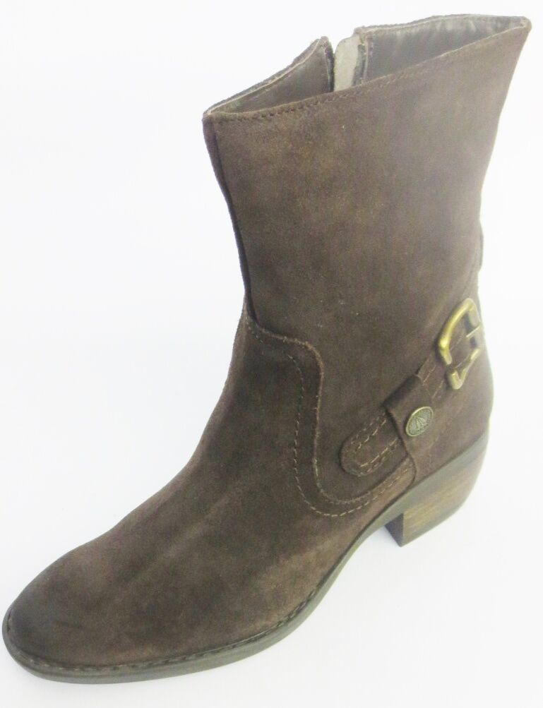 Ladies Hush Puppies Pennie Ankle Boot Dark Brown Waxy Suede