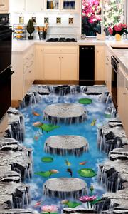 3D Papel de Parojo de suelo Cascada Lotus 955 Murales Parojo impresión AJ Wallpaper Reino Unido Limón
