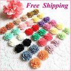 20mm Rose Flower Earrings~Stud,Clip on,Magnetic Non-pierced Wholesale Lot Free S