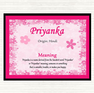 Details about Priyanka Name Meaning Dinner Table Placemat Pink