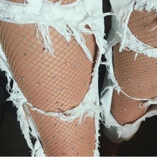 Frau Kristall Rhinestone Mesh Fischnetz Elastische Strümpfe Socken Strumpfhosen