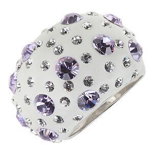 Damen-Ring-echt-Silber-925-grosser-Ringkopf-Kristalle-lila-weiss-gross