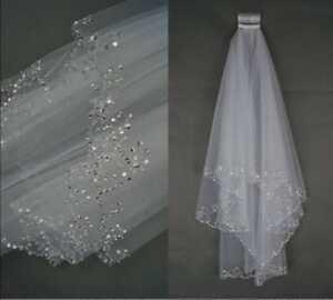 2018-2T-White-Ivory-Elbow-Beaded-Sequins-Edge-Wedding-Bridal-Bride-Veil-Comb
