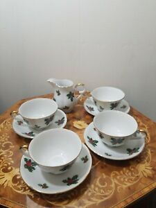 4-Lefton-Fine-China-in-Holly-7950-Footed-Cup-n-Saucer-Sets-and-creamer